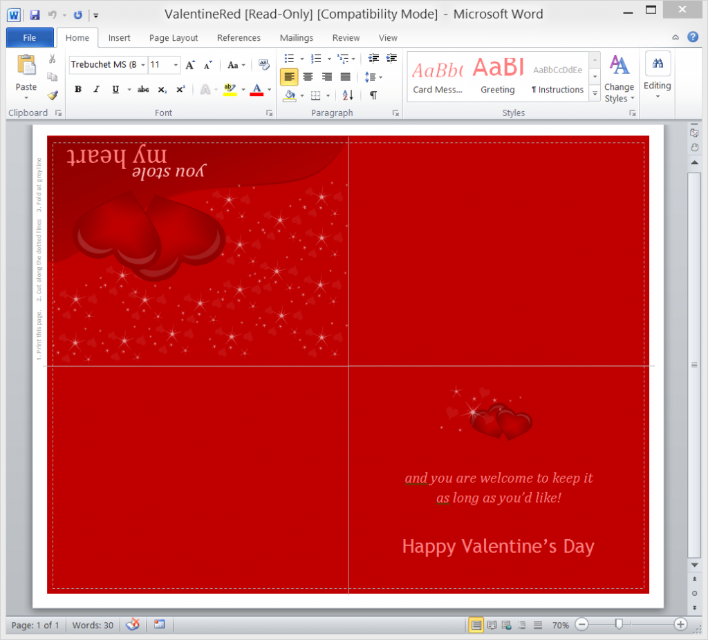 Create Your Own Valentines Day Card in Word  Onsite Software