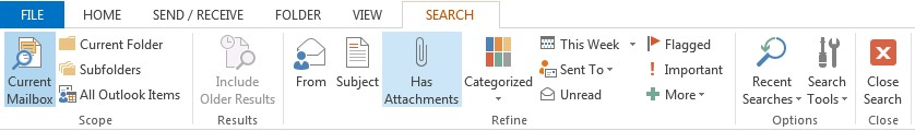 Search tab ribbon