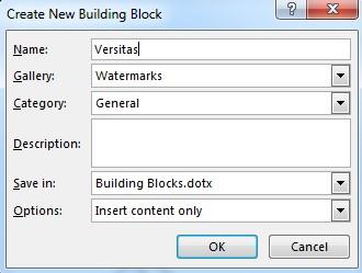 New building block dialog box