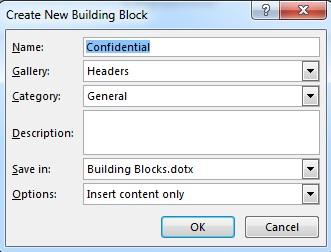 Building block dialog box