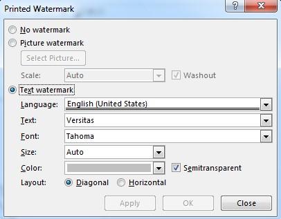 Watermark dialog box
