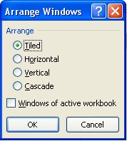 Arrange Windows dialog box