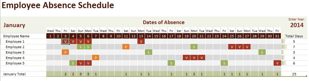 employee absence schedule