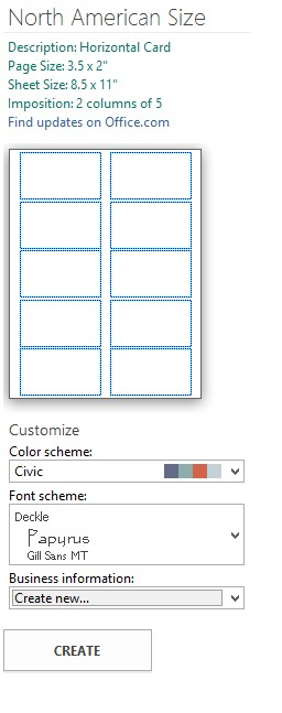 Customizing options for card