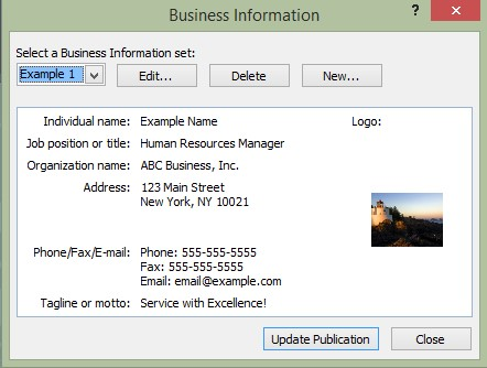 Edit and Add business information