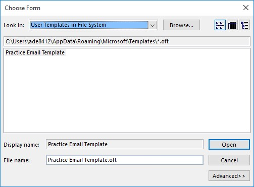 Creating and using an outlook template onsite software training outlook choose form dialog box maxwellsz