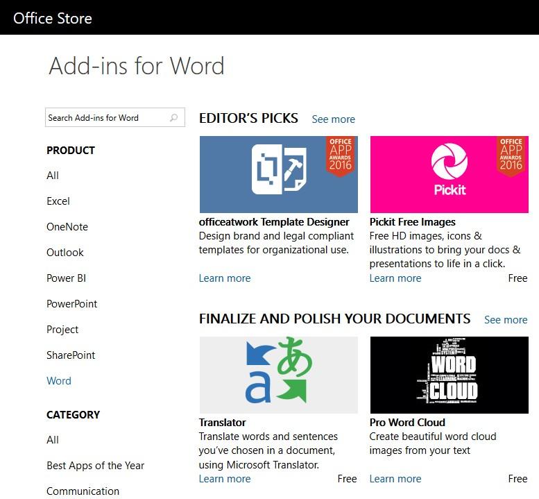 Microsoft Store for addins
