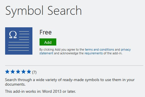 Symbol search add-in