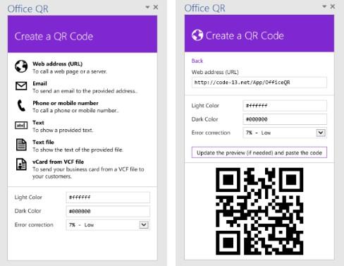 Office QR example screenshot