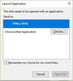 Open Link dialog box