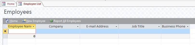 Employees form screenshot