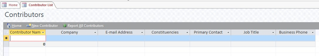 Contributor list form screenshot