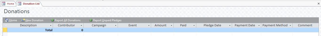 Donations form screenshot