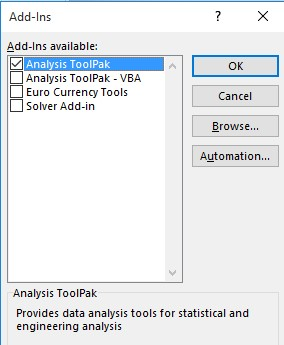 Excel Analysis ToolPak add-in