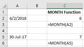 Excel MONTH function screenshot
