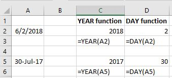Year and DAY functions screenshot