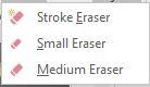 Inking eraser menu choices screenshot