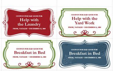 screenshot of Christmas gift template coupons