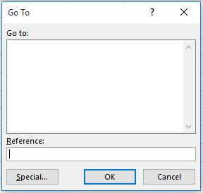 Excel time-saving tips - Go To dialog box