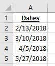 5 dates in a list in Excel - a screenshot