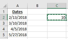 List of dates in Excel with the cell copied