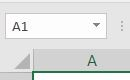 screenshot of the name box above column A in Excel