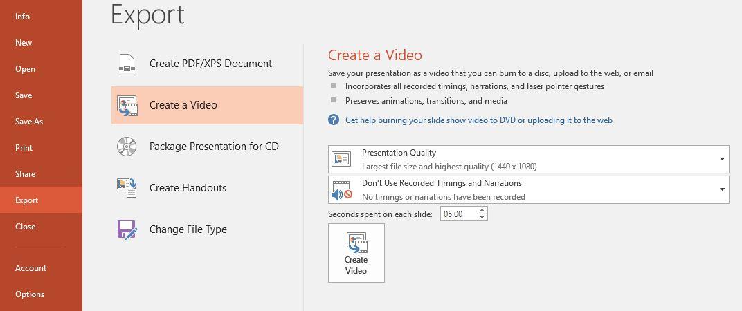 PowerPoint video - File tab screenshot
