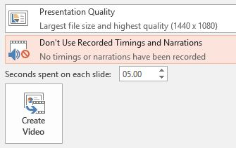 PowerPoint video - other options on export page