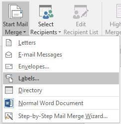 Mail Merge Labels - Start Mail merge button