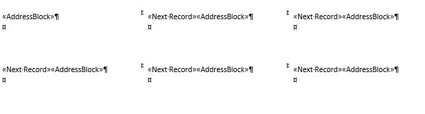 mail merge labels - address block and next record codes on all labels