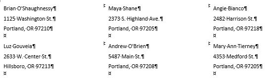 mail merge letters - screenshot of preview of labels