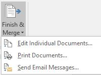 mail merge button - finish and merge button and drop down menu