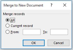 mail merge labels - merge to new document dialog box