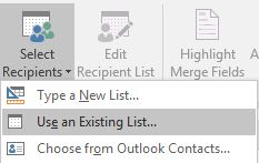 Mail merge labels - select recipients button on mailings tab