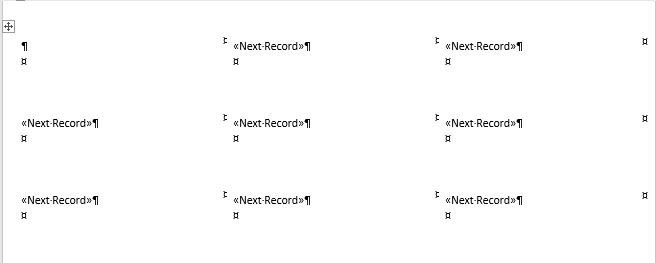 Mail Merge labels - next record codes on label layout