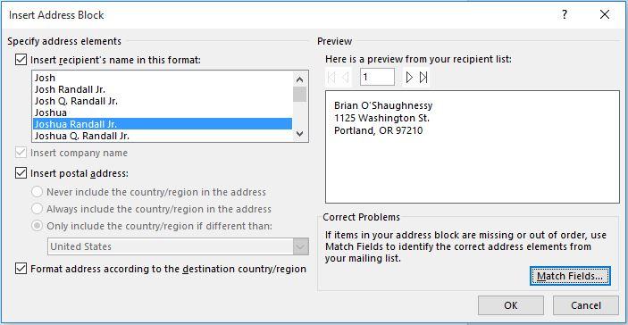 mail merge labels - insert address dialog box to select address design