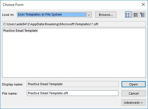 saving email templates in outlook