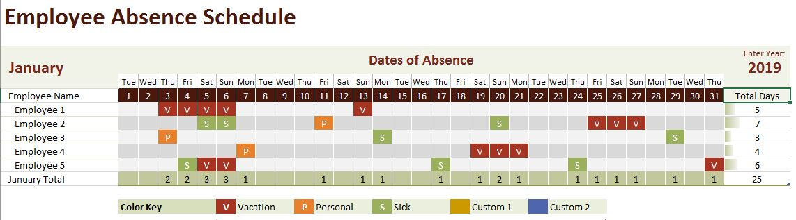Track Employee Absences In Excel Onsite Software Training From Versitas